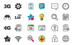Mobile telecommunications icons. 3G, 4G and LTE. Stock Images