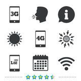 Mobile telecommunications icons. 3G, 4G and LTE. Mobile telecommunications icons. 3G, 4G and LTE technology symbols. Wi-fi Wireless and Long-Term evolution stock illustration
