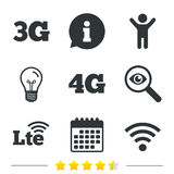 Mobile telecommunications icons. 3G, 4G and LTE. Royalty Free Stock Images