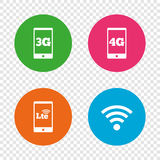 Mobile telecommunications icons. 3G, 4G and LTE. Stock Photography