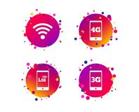 Mobile telecommunications icons. 3G, 4G and LTE. Vector. Mobile telecommunications icons. 3G, 4G and LTE technology symbols. Wi-fi Wireless and Long-Term stock illustration