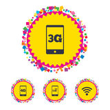 Mobile telecommunications icons. 3G, 4G and LTE. Web buttons with confetti pieces. Mobile telecommunications icons. 3G, 4G and LTE technology symbols. Wi-fi stock illustration