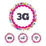 Mobile telecommunications icons. 3G, 4G and LTE. Web buttons with confetti pieces. Mobile telecommunications icons. 3G, 4G and LTE technology symbols. Wi-fi royalty free illustration