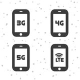 Mobile telecommunications icons. 3G, 4G, 5G and LTE symbols. Eps10 Vector royalty free illustration