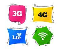 Mobile telecommunications icons. 3G, 4G and LTE. Vector. Mobile telecommunications icons. 3G, 4G and LTE technology symbols. Wi-fi Wireless and Long-Term royalty free illustration