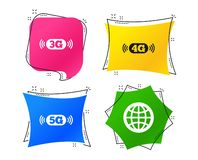Mobile telecommunications icons. 3G, 4G and 5G. Vector. Mobile telecommunications icons. 3G, 4G and 5G technology symbols. World globe sign. Geometric colorful stock illustration