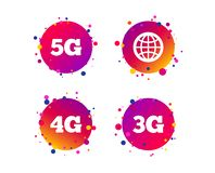 Mobile telecommunications icons. 3G, 4G and 5G. Vector. Mobile telecommunications icons. 3G, 4G and 5G technology symbols. World globe sign. Gradient circle stock illustration