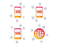 Mobile telecommunications icons. 3G, 4G and 5G. Vector. Mobile telecommunications icons. 3G, 4G and 5G technology symbols. World globe sign. Random dynamic vector illustration