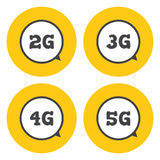 Mobile telecommunications icons. Technology icon 2G, 3G, 4G and 5G . Mobile telecommunications icons stock illustration