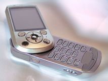 Mobile Telephone. Silver mobile phone Royalty Free Stock Photo