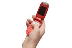 Mobile telephone. Hand holding a mobile telephone Stock Images