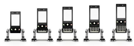 Mobile telephone. Is opened in several stages Stock Photography