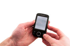 Mobile telephone in hand Stock Photos