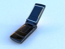 Mobile telephone isolated. On light blue background Stock Photos