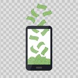 Mobile telephone with money pile on transparent background. Cash banknotes heap, falling dollars. Commercial banking. Finance concept in flat style stock illustration