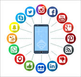 Mobile Telephone With Social Network Infographic Icons Stock Images