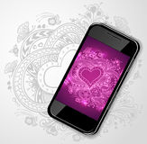 Mobile telephone with Zen-doodle Heart frame in  lilac  pink Stock Images