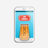 Mobile ticket online service. Tickets ordering. Vector illustration Royalty Free Stock Image