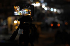 Mobile Timelapes. Mobile recording video at GPO chowk. Murree, Punjab, Pakistan Royalty Free Stock Photo