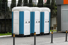 Mobile toilet cabins Stock Images