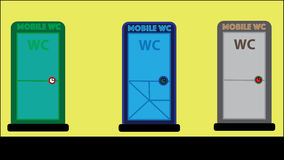 Mobile Toilet - ecologic lavatory - 3 colors customizable -. Vector illustration of 3 ecologic lavatory, in three different colours, mobile wc unit Royalty Free Stock Image