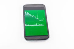 Mobile Touch Screen. With Financial Chart on Tablet Royalty Free Stock Image