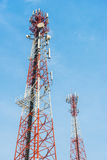 Mobile tower antennas with blue sky background. Royalty Free Stock Image