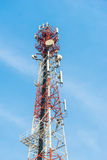 Mobile tower antennas with blue sky background. Royalty Free Stock Photo