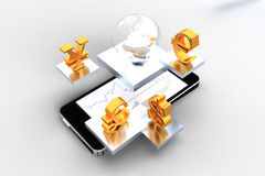 Mobile trade. 3d illustration of currency symbols Stock Photos