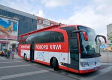 Mobile transfusion station - Katowice Poland Royalty Free Stock Photography