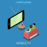 Mobile TV watching television smartphone flat isometric vector Stock Image