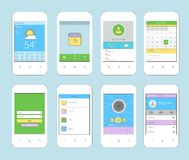 Mobile ui design flat line Royalty Free Stock Images