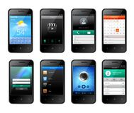 Mobile ui design. Smartphones with mobile ui design template set with weather music applications isolated vector illustration royalty free illustration
