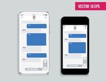 Mobile ui kit messenger. Chat app template. Modern realistic white and black smartphone. Social network concept. stock illustration