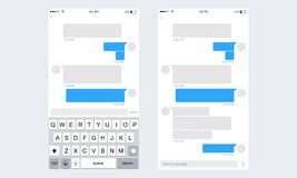 Mobile ui kit messenger. Chat app template whith mobile keyboard. Social network concept. Vector illustration Stock Photo