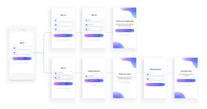 Mobile UI kit. Sign up form, sign in page. Set. Mobile app UI kit. Sign up form, sign in page. Full Set. Login, registration, check email, reset password and vector illustration
