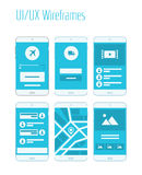 Mobile UI and UX Wireframes Kit. Mobile website and application responsive sitemap templates Stock Photo