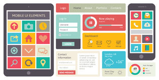 Mobile UI vector elements. Modern UI flat design vector kit in trendy color with simple mobile phone and digital tablet with icons, buttons, windows and other Royalty Free Stock Image