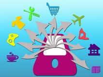 Mobile und Social Media-on-line-Konzept Lizenzfreie Abbildung
