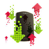 Mobile upload and download concept. As phone illustration with red and green arrow icons isolated on white Royalty Free Stock Photos