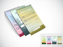 Mobile user interface with login application layouts. Stock Photography