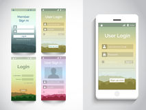 Mobile user interface with login application. Royalty Free Stock Photo