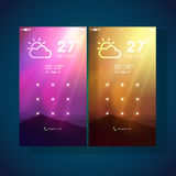 Mobile User Interface Screens with Weather feature. Stock Image