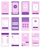 Mobile User Interface 35 Screens Wirefrme Kit for Royalty Free Stock Images