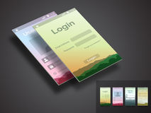 Mobile user interface with template for login application. Stock Photos