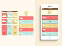 Mobile user interface with weather application. Royalty Free Stock Images