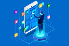 Mobile user of office application. Mobile user, company interface of office application. Developer working on ui experience. Can use for web banner images. Flat Stock Image