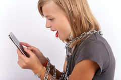 Mobile user shackled with a chain Royalty Free Stock Photography