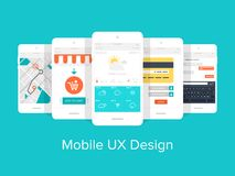 Mobile UX. Flat vector collection of modern mobile phones with different user interface elements Stock Image