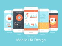 Mobile UX. Flat vector collection of modern mobile phones with different user interface elements stock illustration